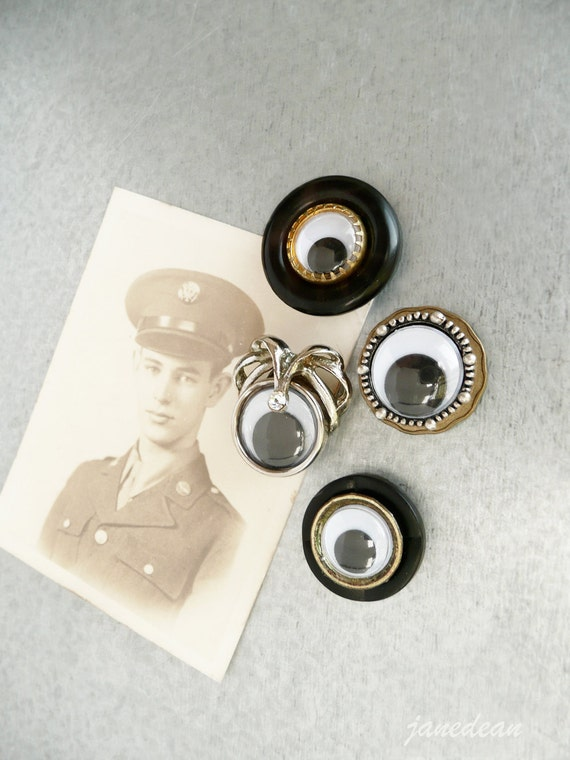 4 Little Eye Magnets -  recycled jewelry and found objects