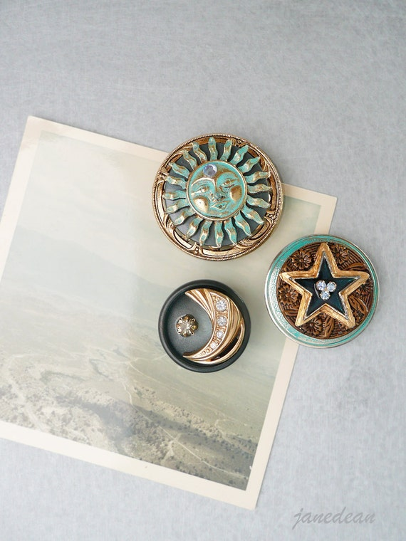 3 Sun Moon Star Magnets - recycled jewelry and buttons