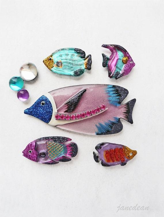 6 Tropical Fish Fridge Magnets - glitter embellished vintage plastic