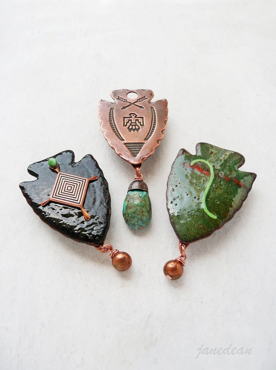 3 Arrowhead Fridge Magnets - recycled collaged vintage jewelry