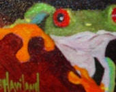ACEO  GREEN FROG  Barbara Haviland EBSQ DAWG oil painting