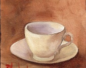 Cup and Saucer I  EBSQ OAOE DAWG Barbara Haviland oil miniature