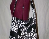 Black and White Butterflies and Flowers Slouch Slouchy Bag Purse With Built In Key Fob