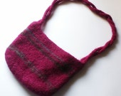 Fuschia Pink Striped Felted Wool Purse