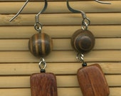SALE Wooden Earrings with Stripes
