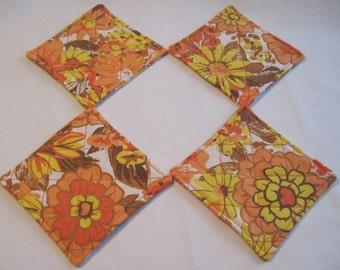 Upcycled Fabric Coaster Set of Four