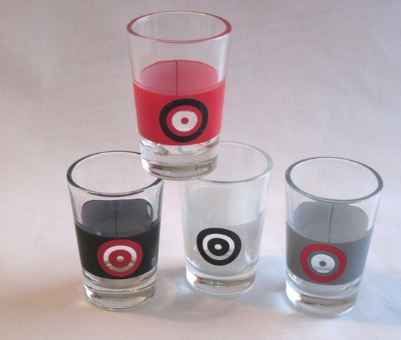 Vintage Bullseye Shot Glasses Set of Four Red White Black and Gray