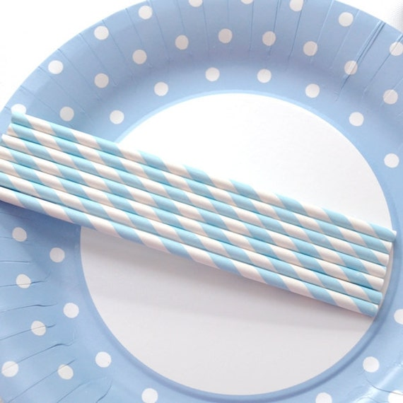 50 Light Blue Stripe Paper Straws (DIY Parties)
