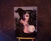 Witch painting ACEO Halloween art miniature portrait