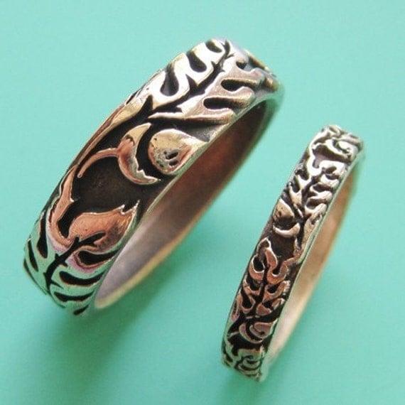 Copper Oak Wedding Ring Set