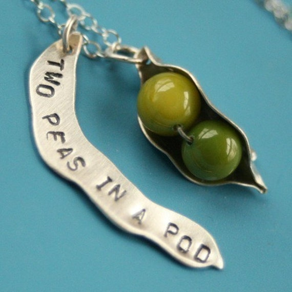 two peas in a pod charm necklace