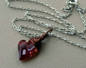 Red Magma-Swarovski heart with sterling chain