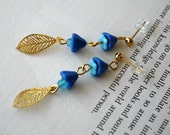 Flower - blue glass flower and gold leaf earrings sale
