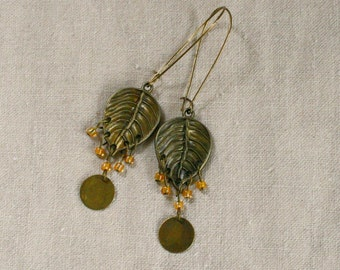 Leaf antiqued brass leaves and yellow bead earrings sale