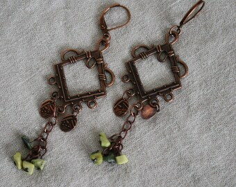 Delilah long antiqued copper and turquoise stone earrings