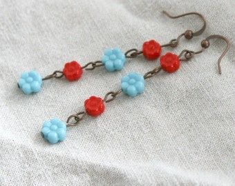 Long Red and Turquoise Flower Earrings, summer earrings, bright earrings, flower earrings, glass beads, antiqued copper earrings,beachy