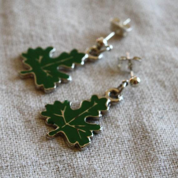 Earrings- Green Enameled Leaf Stud Earrings- dangle, charm, nature, woodland, small, green, silver stud, simple earrings, fall