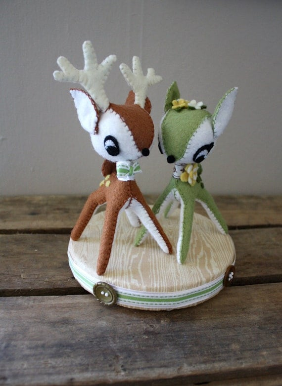 Deer Cake Topper - green and brown