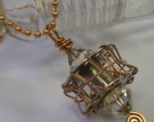 Altered Sewing Machine Bobbin Necklace Pendant Wire Wrapped Solid Copper Swarovski Crystals - on a Solid Copper Ball Chain - by Jean Skipper