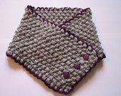 scarflette, vintage style, plum and grey