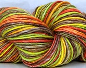 HandSpun Yarn Merino Wool Tencel Bright Autumn Leaves 182 yards single ply yarn