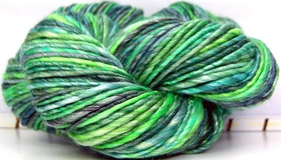 HandSpun Single Ply Yarn merino wool and tencel - WormWood - 140 yards 4.1 ounces dk weight