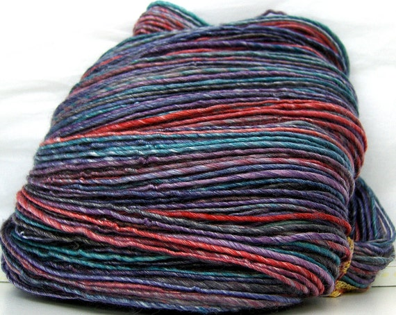 HandSpun Yarn Merino Wool Tencel Masquerade 173 yards 4.1 ounces