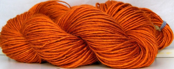 HandSpun Yarn bamboo Pumpkin new autumn color Custom Spin to Order