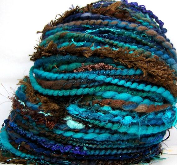 HandSpun Art Yarn bulky wool Canyon Dusk 76 yards