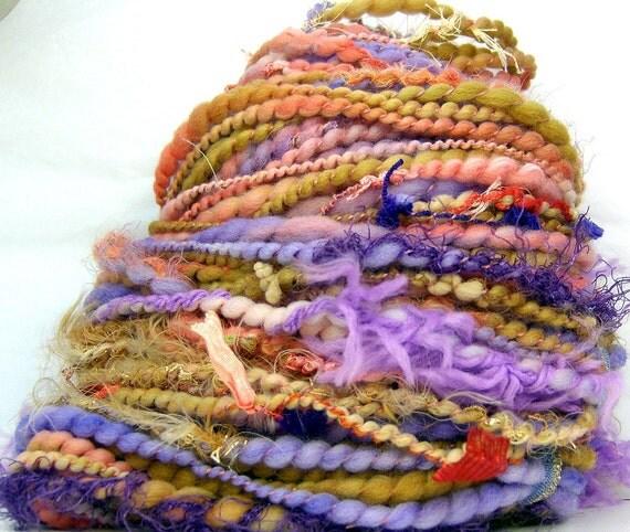 RESERVED HandSpun Art Yarn bulky wool Coral Lilac Sands 62 yards Kitty Grrlz FunctionArt art yarn