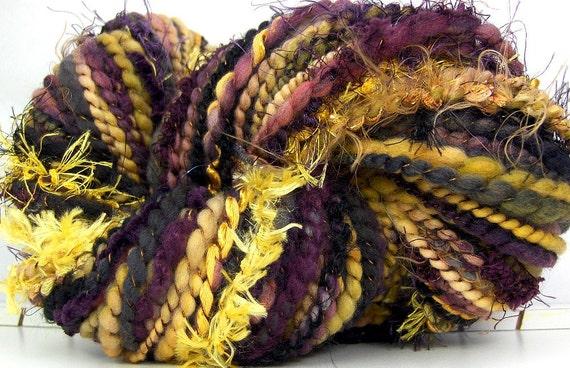 Hand Spun Art Yarn merino wool Plum Gold 74 yards Kitty Grrlz FunctionArt Art Yarn