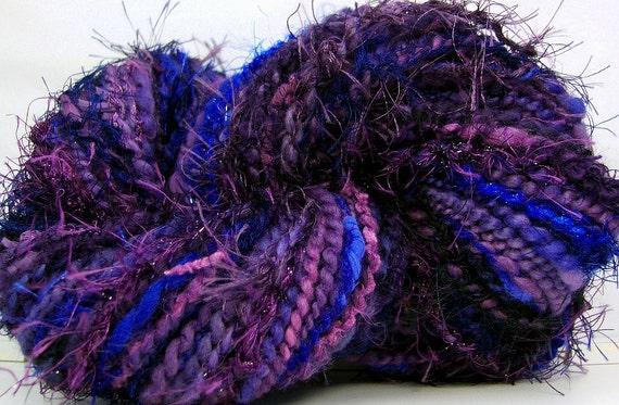 HandSpun Art Yarn merino wool Ink 92 yards Kitty Grrlz FunctionArt bulky art yarn