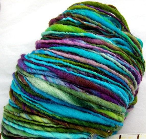 HandSpun Yarn merino wool yarn thicknthin Electric Garden 143 yards