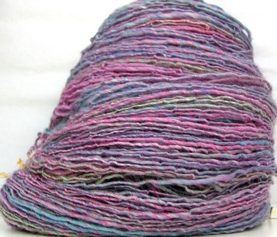 HandSpun Yarn merino silk alpaca yarn handspun Aurora 387 yards sport weight
