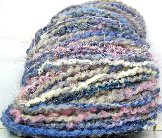 HandSpun Art Yarn bfl wool bamboo tencel sparkle Pretty Maids All In A Row 52 yards