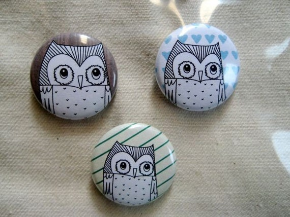 owls button set
