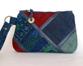Clutch / Pouch / Purse / Wristlet  - Vintage blue red green kimono and leather