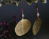 brass leaf earrings with natural seeds - bohemian chic - statement earrings