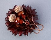 copper earrings with red crystals and mahogany pod beads - bohemian jewelry - natural earrings