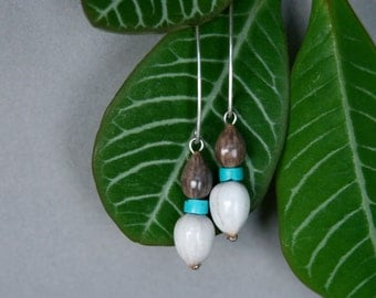drop earrings with turquoise and natural seeds - tribal jewelry - eco friendly - ethnic earrings