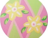 Hand Painted Pink and Green Flower Diamonds Argyle Knobs Wood Drawer Knobs Drawer Pulls  Kids Knobs Girls Knobs Decorative Knobs Nursery Art