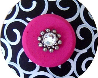 Black White Knobs Swirl Knobs Hot Pink Knobs Swarovski Crystal Jeweled Hand Painted Knobs Decorative Knobs Wood Drawer Pulls Kids Knobs