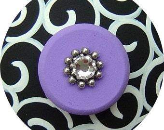 Black White Purple Swirls Swarovski Crystal Jeweled Hand Painted Wood Dresser Furniture Decorative Teen Nursery Kids Room Drawer Pulls Knobs
