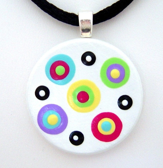 Colorful Circle Dots Handpainted ART Pendant