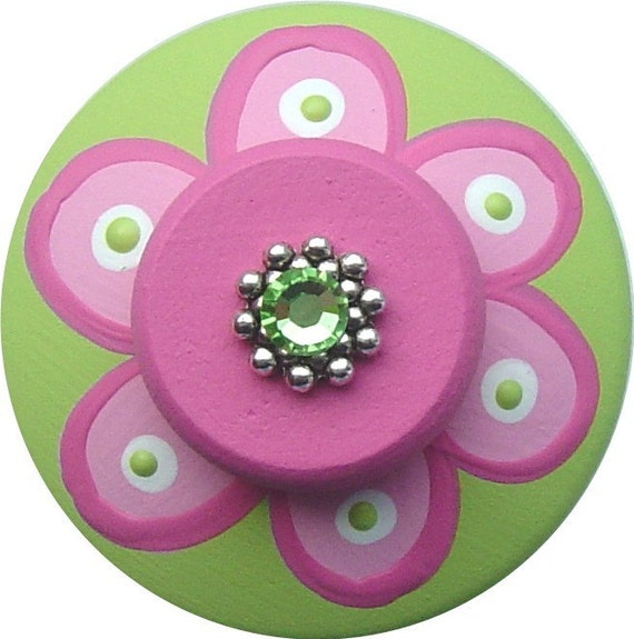 Pink and Apple Green FLOWER Crystal Jeweled Hand Painted Wood Decorative Dresser Cabinet Kids Girl Children Room Decor  Drawer Pull Knob