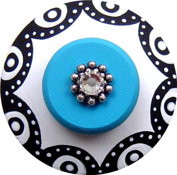 Black White and Turquoise Polka Dots Border Swarovski Crystal Jeweled Hand Painted Decorative Dresser Furniture Art Wood Drawer Pull Knob