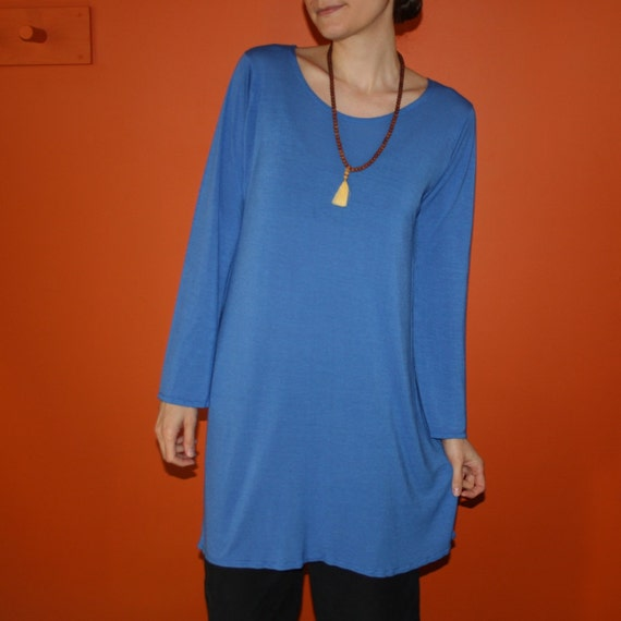 long sleeve dress or nightgown - organic bamboo and cotton hand dyed in lapis blue - medium
