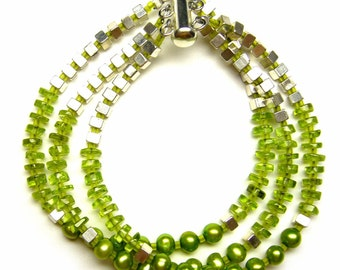 peridot and freshwater pearl 3 strand bracelet SALE