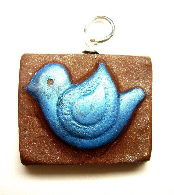 Polymer clay charm pendant rustic bird in blue and brown
