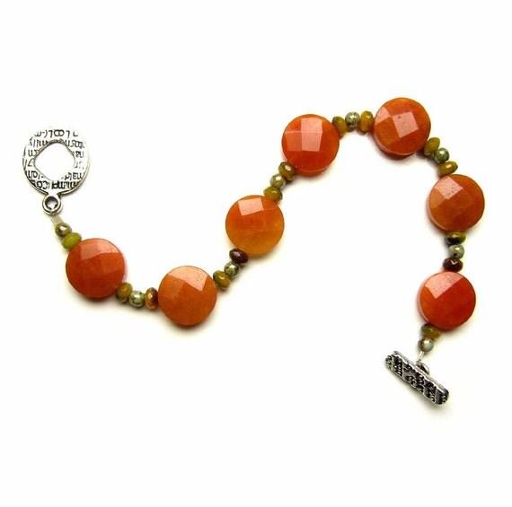 Orange stone bracelet golden jade faceted cushion cut beads